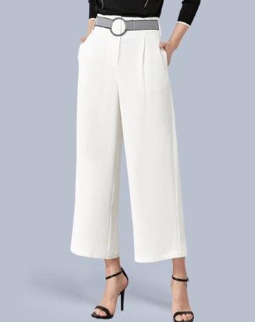 White Basic Pockets Long Women's  Pants