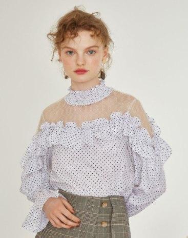 White Floral V Neck Long Sleeve Standard Women's Shirt