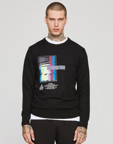 Black Print Long Sleeve Standard Men's Knitwear
