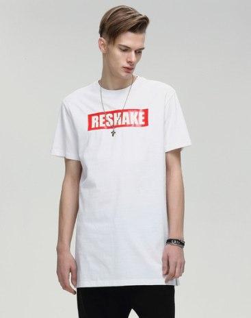 White Print Round Neck Short Sleeve Loose Men's T-Shirt