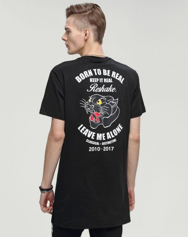 Black Print Round Neck Short Sleeve Loose Men's T-Shirt