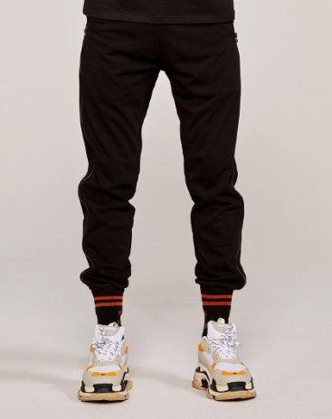 Black Drawstring Type Light Elastic Fitted Long Men's Pants