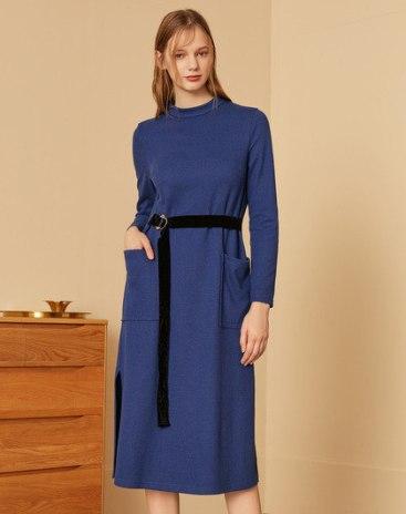 Blue Long Sleeve 3/4 Length Women's Dress