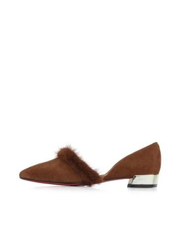 Brown Cut Pointed Low Heel Women's Sandals