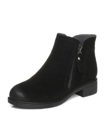 Black High Top Round Head Middle Heel Women's Boots