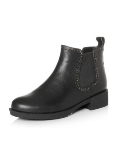 Black High Top Round Head Middle Heel Ankle Boot Women's Boots