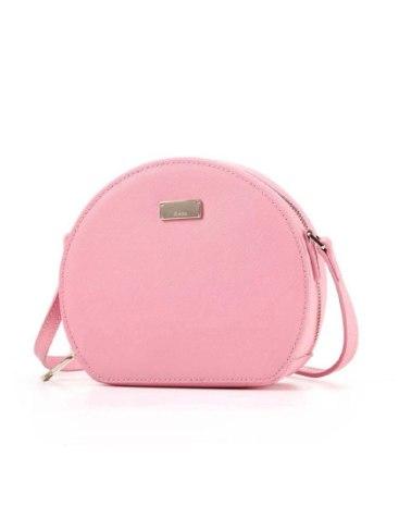 Pink Plain Cowhide Leather Mini Women's Crossbody Bag