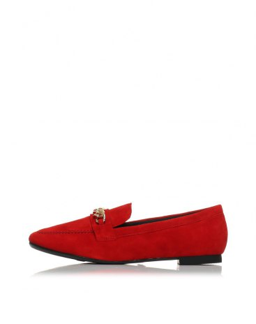 Red Cut Square Toe of Shoes Low Heel Women's Loafers