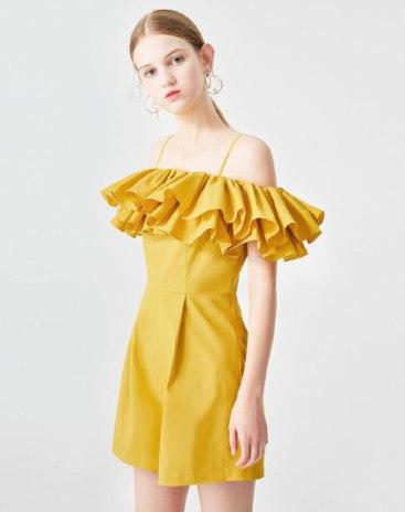 Yellow High Waist Ruffle Women's Romper