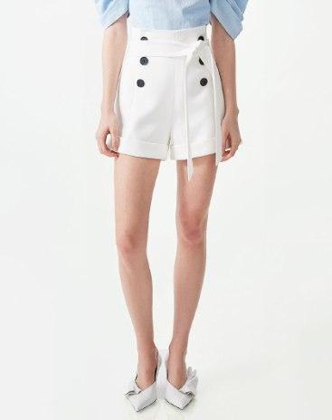 White High Waist Button Fly Short Women's Pants