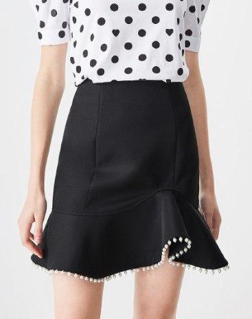 Black High Waist Women's A Line Skirt