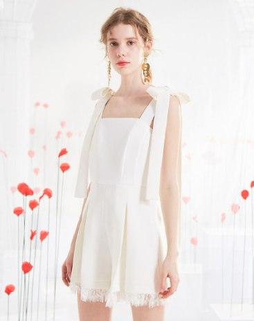 White High Waist Lace Women's Romper