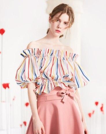 Stripes Off Neckline Half Sleeve Fitted Women's T-Shirt