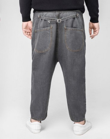 Gray Weave Inelastic Low Waist Loose Men's Jeans