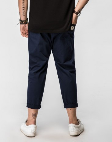 Blue Inelastic Loose Cropped Men's Pants