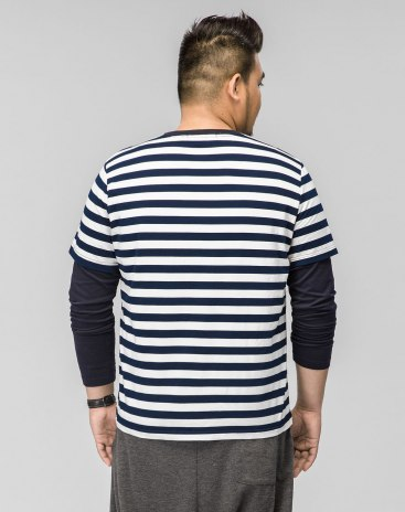 Blue Stripes Round Neck Long Sleeve Standard Men's T-Shirt