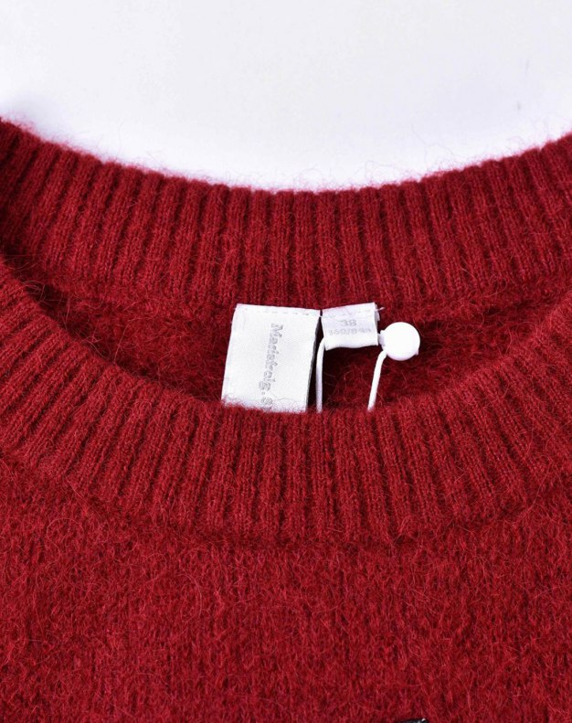 Red Plain Round Neck Long Sleeve Standard Women's Knitwear