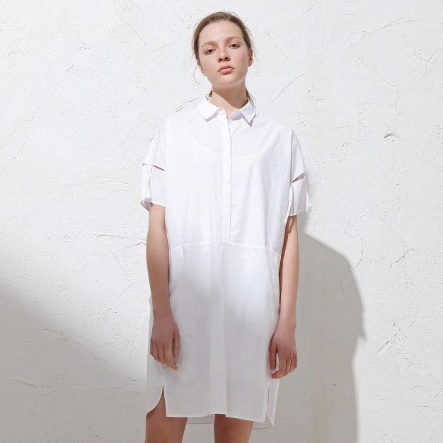 White Shirt Collar 3/4 Length Pencil Skirt Women's Dress