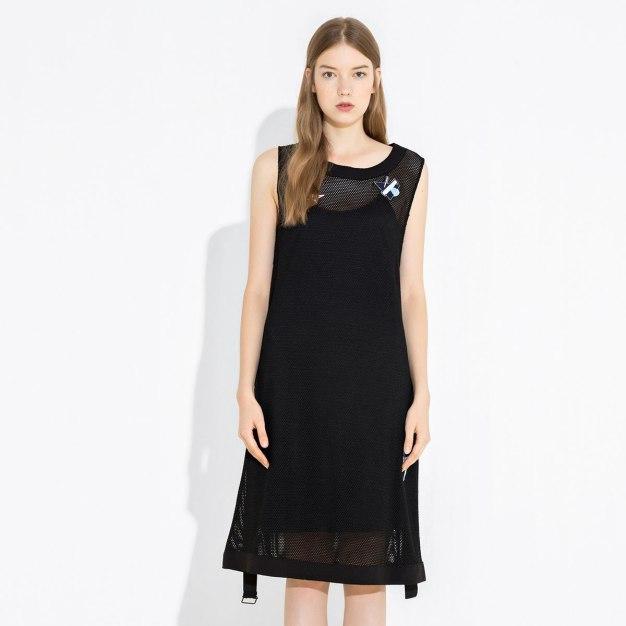 Black Round Neck Sleeveless Standard Women's Dress