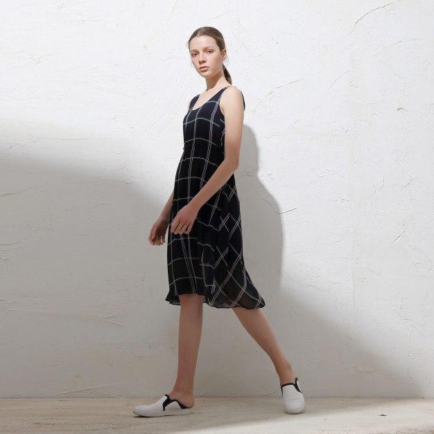 Round Neck High Waist 3/4 Length A Line Women's Dress