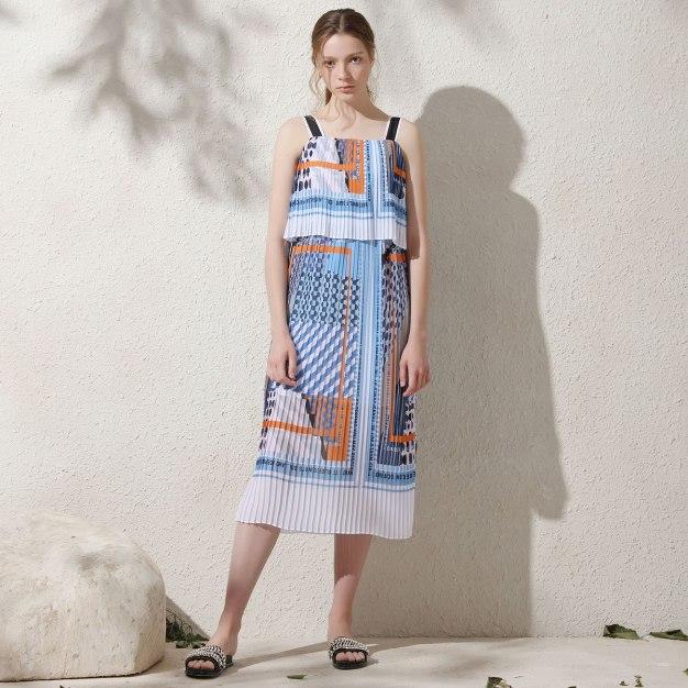 Colourful Sleeveless Pleated Women's Dress