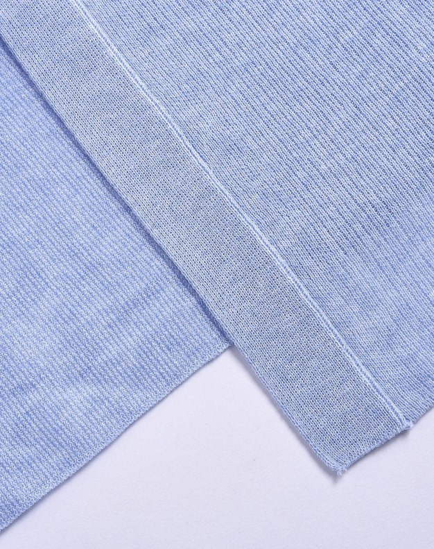 Blue Plain V Neck Single Breasted Short Sleeve Women's Knitwear