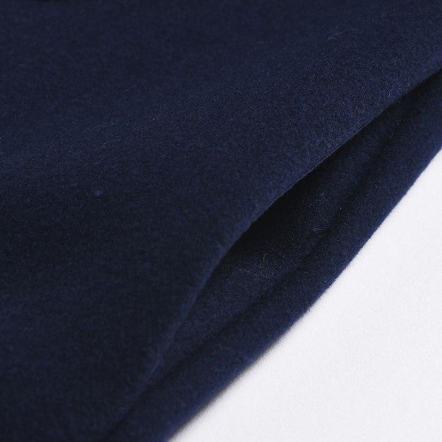 Blue Plain Lapel One Botton Long Sleeve Women's Coat