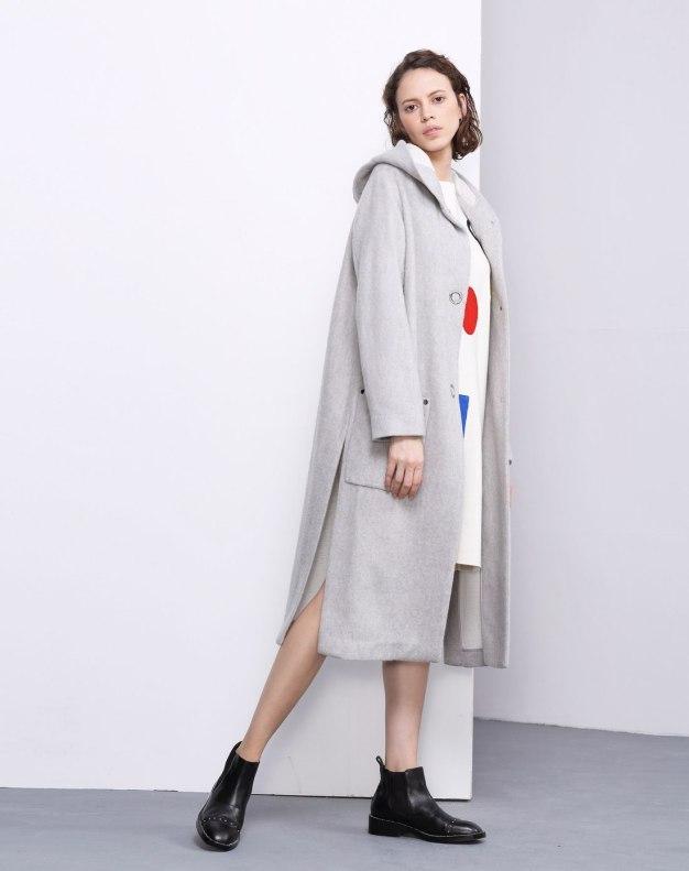 Plain Single Breasted Long Sleeve Loose Women's Coat