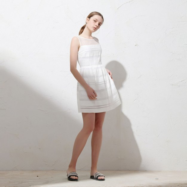 White Round Neck Sleeveless A Line Standard Women's Dress