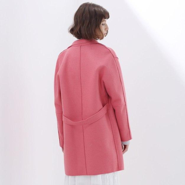 Red Plain Lapel One Botton Long Sleeve Women's Outerwear