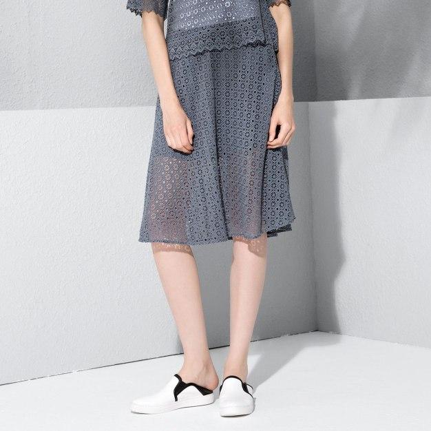 Gray 3/4 Length Women's Skirt