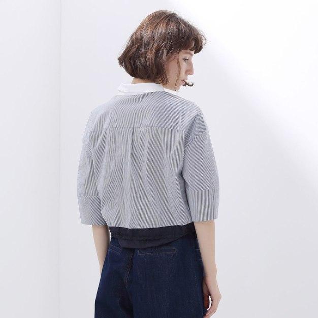 Stripes Shirt Collar Half Sleeve Standard Women's T-Shirt
