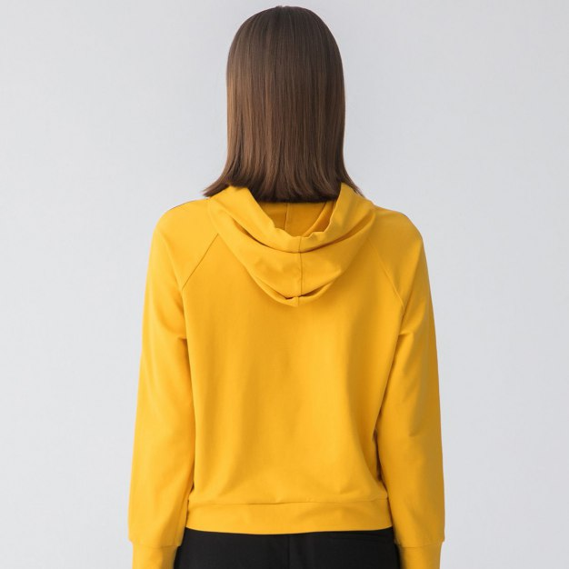 Yellow Plain Strappy Neck Elastic Women's Sweatshirt
