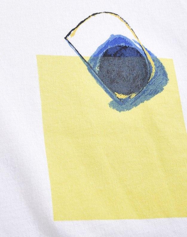 White Color Block Round Neck Short Sleeve Women's T-Shirt