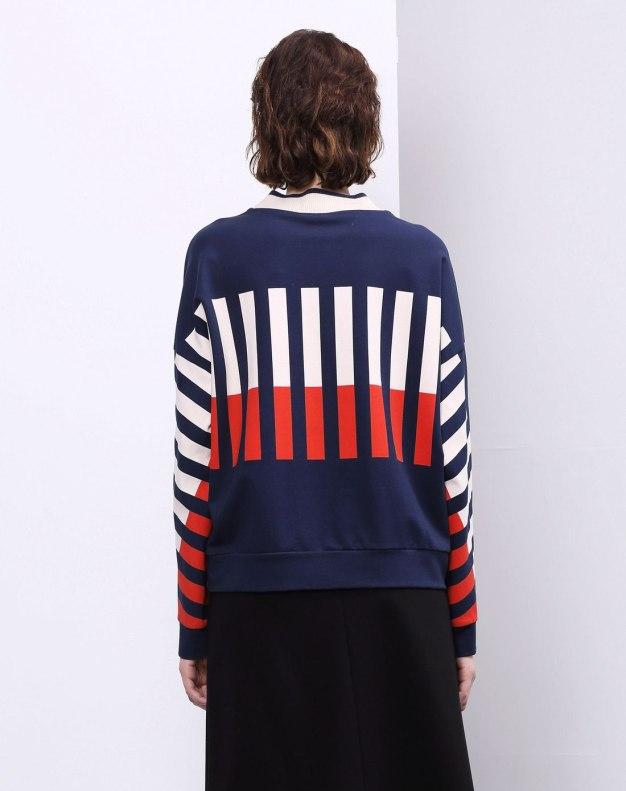 Stripes Round Neck Long Sleeve Standard Women's Sweatshirt