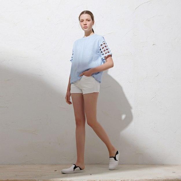 Blue Plain Round Neck Short Sleeve Women's T-Shirt