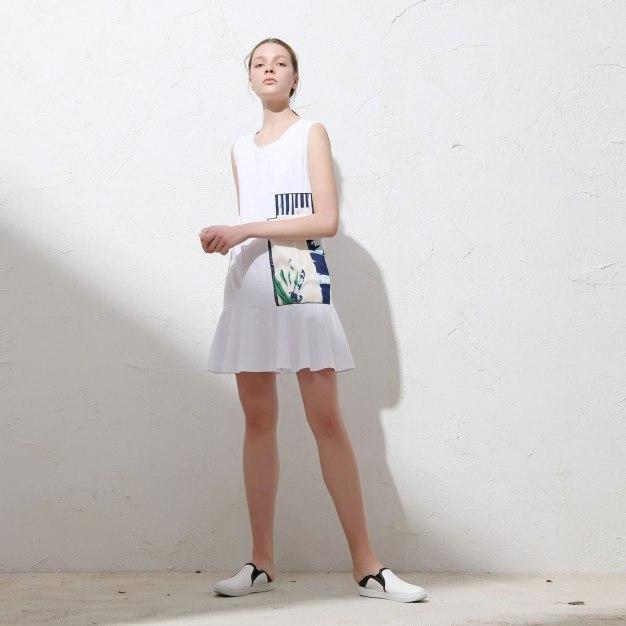White Round Neck Sleeveless Pleated Women's Dress