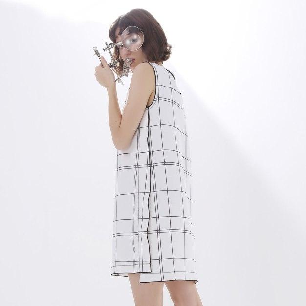 White V Neck Sleeveless Standard Women's Dress