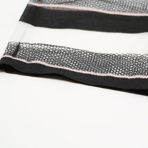 Stripes Round Neck Elastic Short Sleeve Women's Knitwear