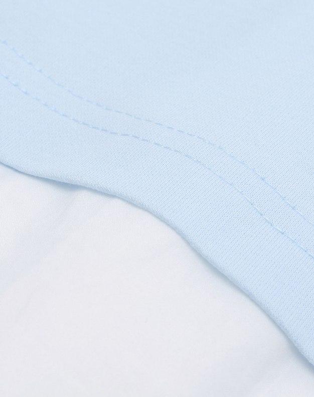 Blue Color Block Round Neck 3/4 Sleeve Women's T-Shirt