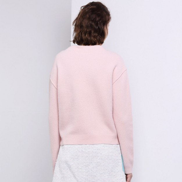 Red Plain Round Neck Elastic Long Sleeve Women's Knitwear