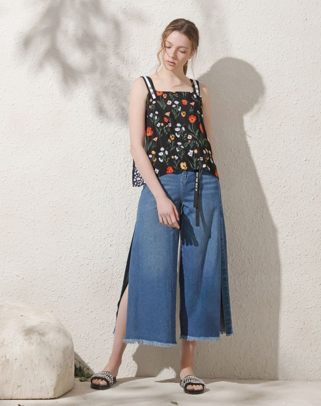Blue Polyester Inelastic Camisoles