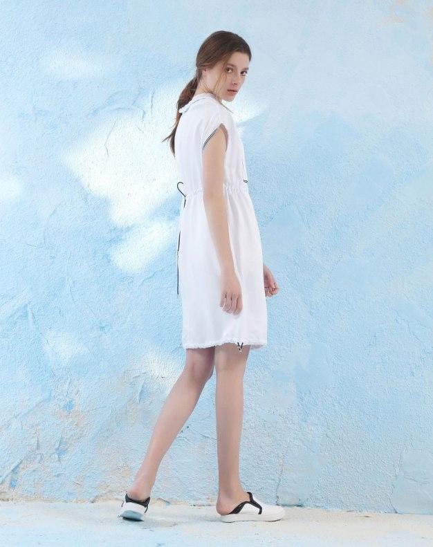 White Hoodie Short Sleeve Women's Dress