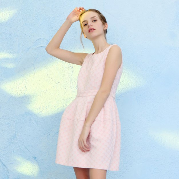 Pink Round Neck Sleeveless High Waist Bodycon Women's Dress
