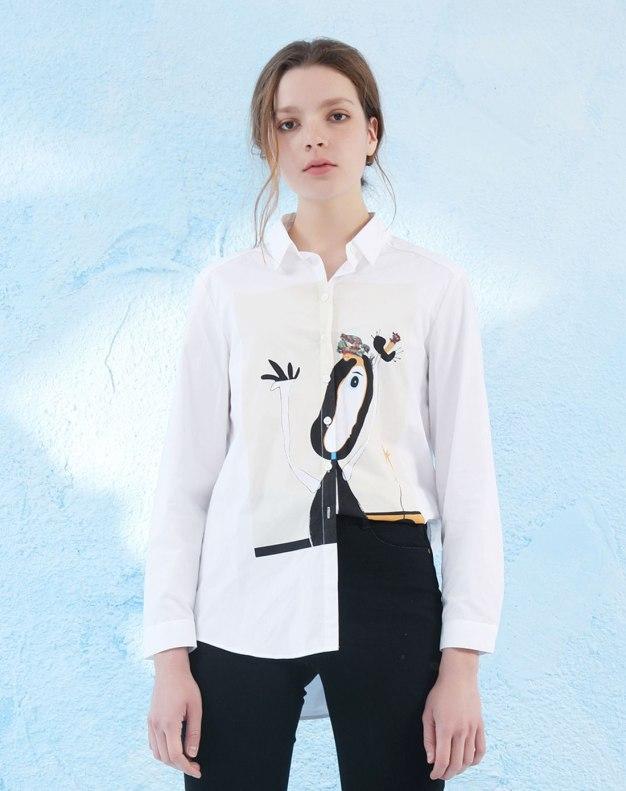 White Shirt Collar Single Breasted Long Sleeve Women's Shirt