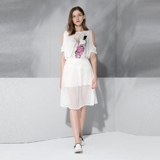 White 3/4 Length Women's A Line Skirt