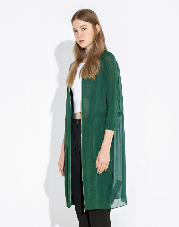 Green Plain Baseball Collar Half Sleeve Women's Knitwear