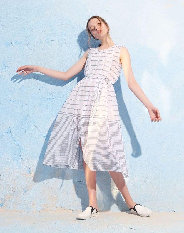 Round Neck Sleeveless Pencil Skirt Standard Women's Dress