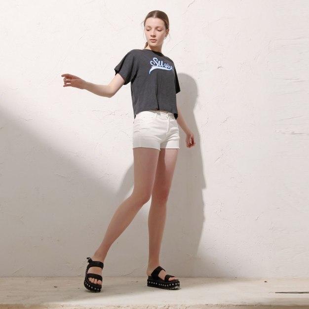 Gray Round Neck Short Sleeve Standard Women's T-Shirt