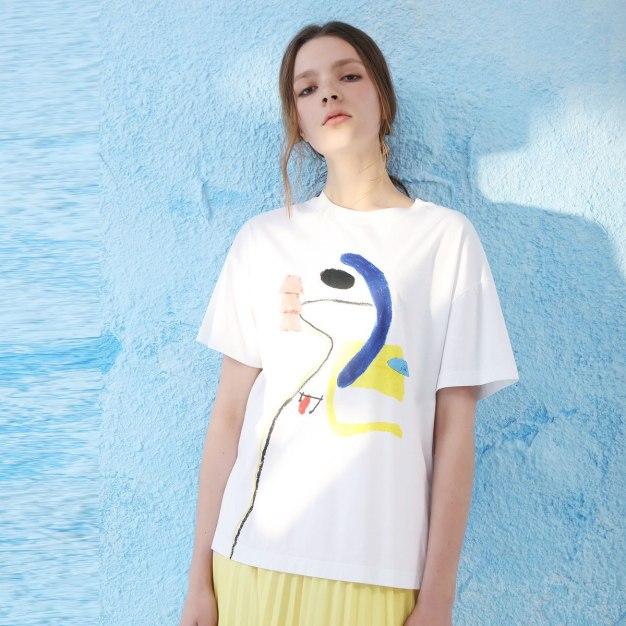 White Print Round Neck Short Sleeve Loose Women's T-Shirt